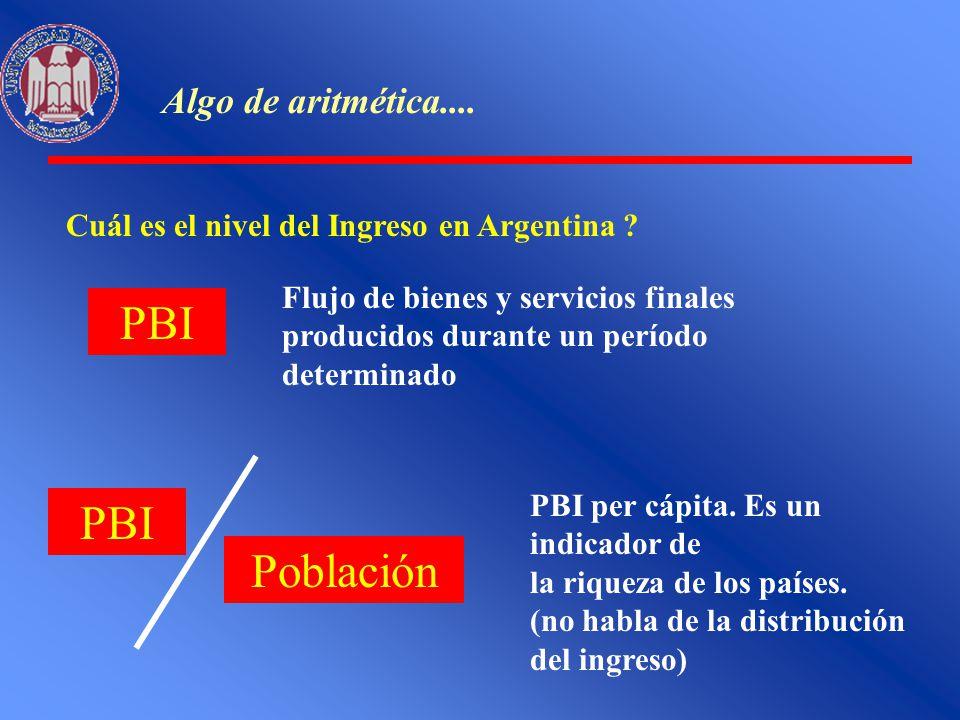 Algo de aritmética.... Cuál es el nivel del Ingreso en Argentina ? PBI Flujo de bienes y servicios finales producidos durante un período determinado P