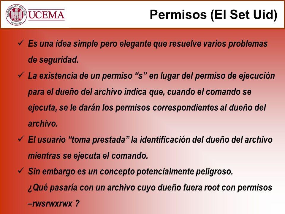 Permisos (El Set Uid) Es una idea simple pero elegante que resuelve varios problemas de seguridad. La existencia de un permiso s en lugar del permiso