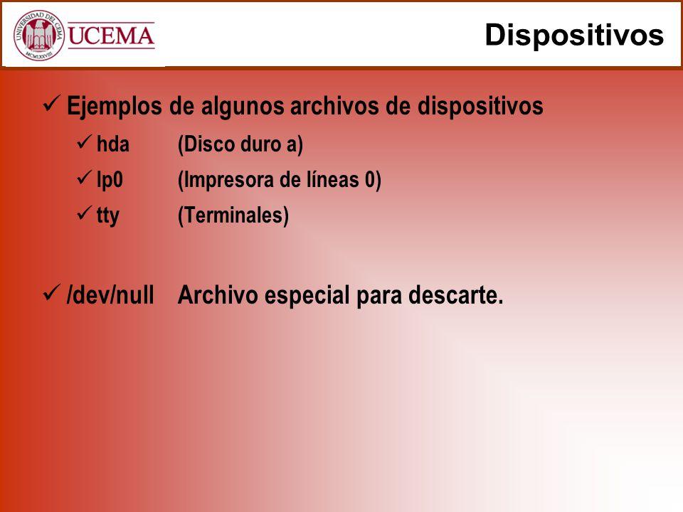 Dispositivos Ejemplos de algunos archivos de dispositivos hda(Disco duro a) lp0(Impresora de líneas 0) tty(Terminales) /dev/nullArchivo especial para