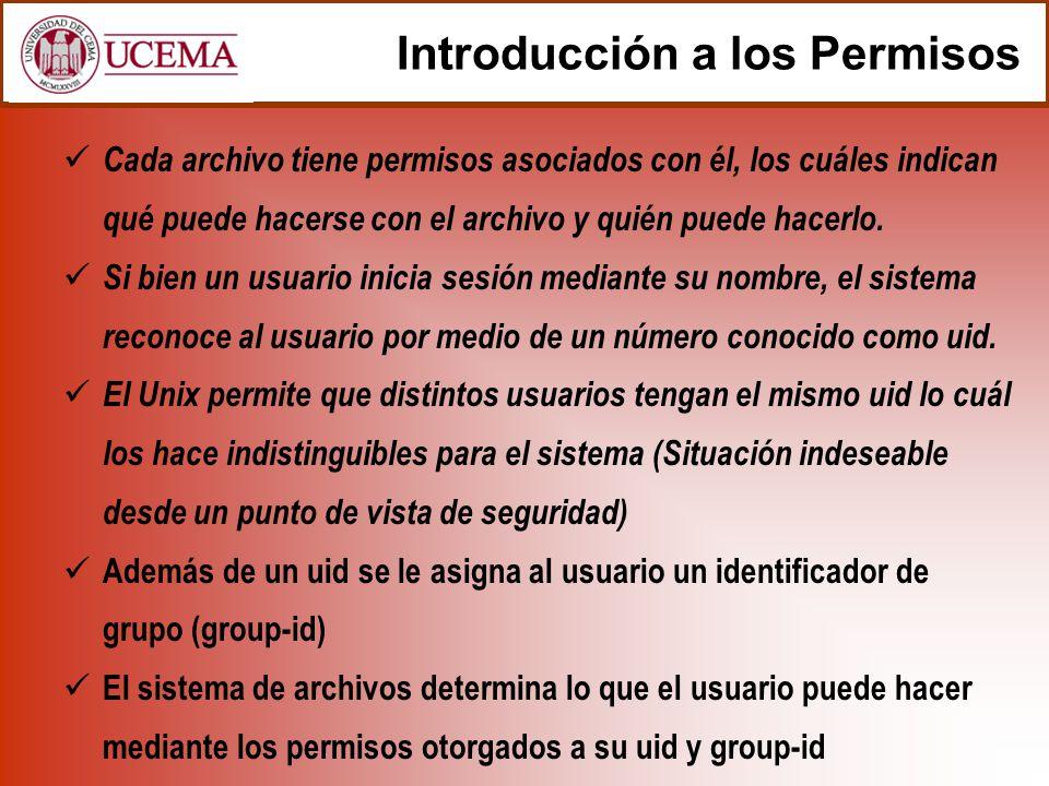 Introducción a los Permisos Cada archivo tiene permisos asociados con él, los cuáles indican qué puede hacerse con el archivo y quién puede hacerlo. S