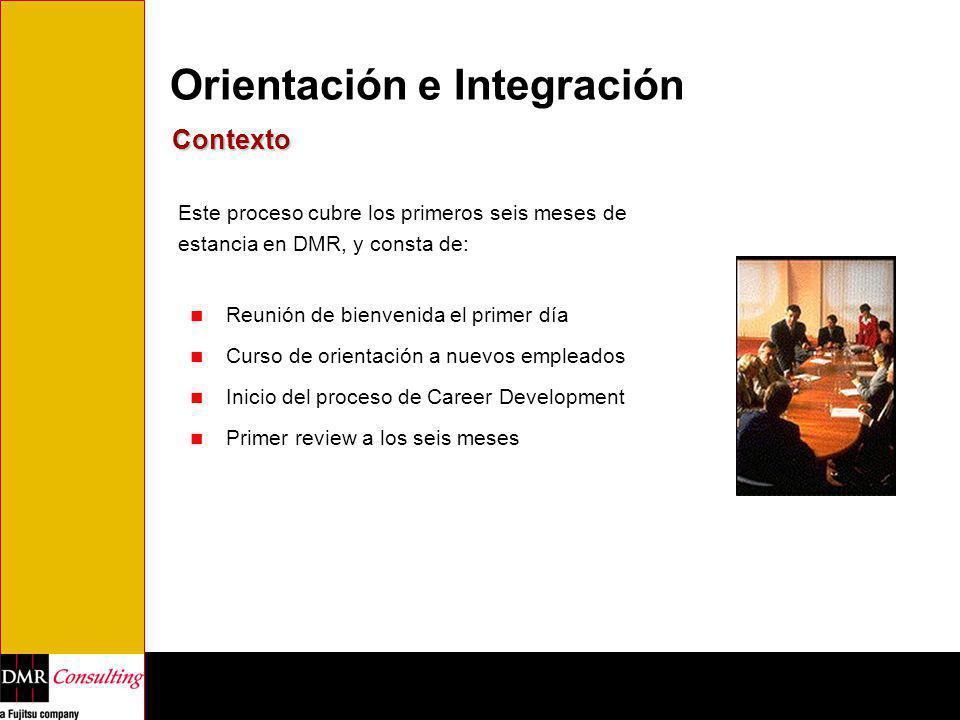 Orientación e Integración Contexto Este proceso cubre los primeros seis meses de estancia en DMR, y consta de: Reunión de bienvenida el primer día Cur