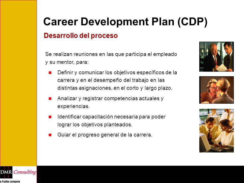 Career Development Plan (CDP) Desarrollo del proceso Se realizan reuniones en las que participa el empleado y su mentor, para: Definir y comunicar los