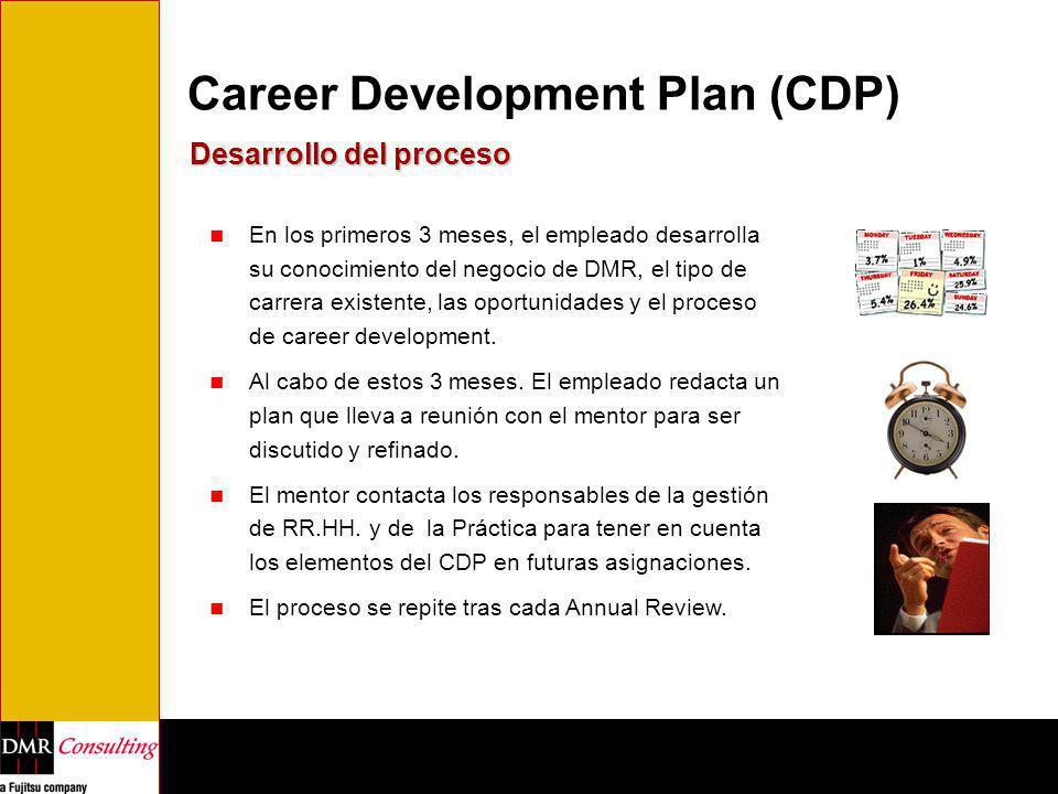 Career Development Plan (CDP) Desarrollo del proceso En los primeros 3 meses, el empleado desarrolla su conocimiento del negocio de DMR, el tipo de ca