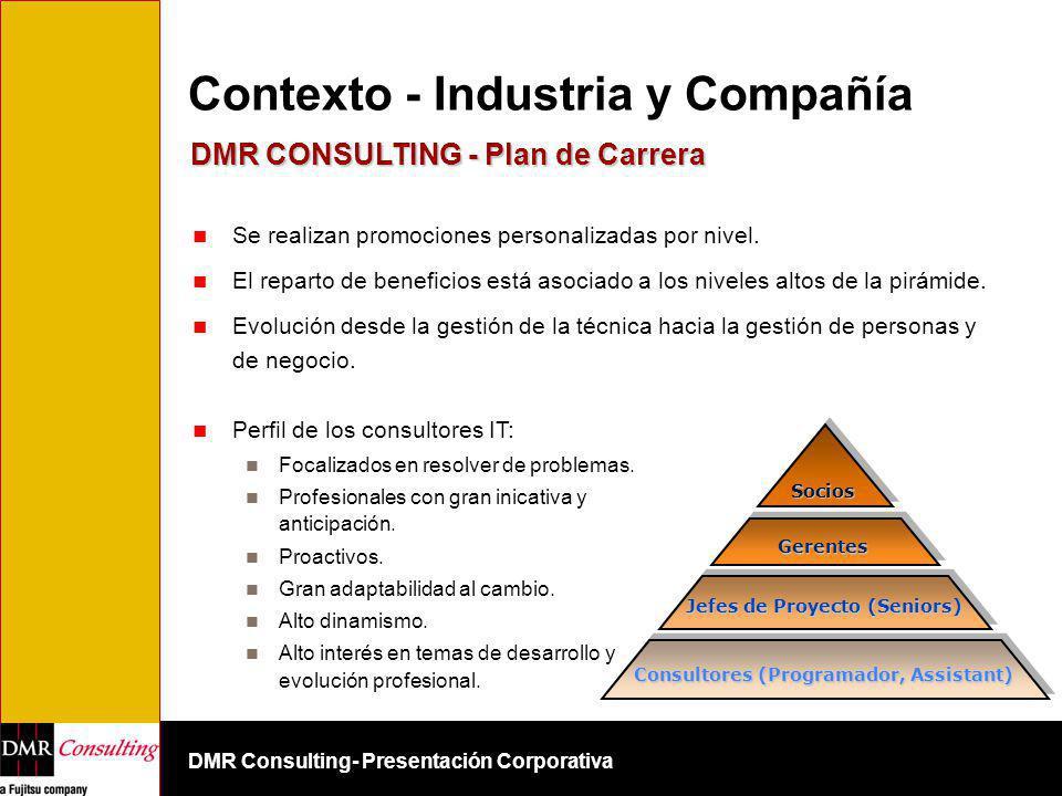 DMR Consulting- Presentación Corporativa Socios Gerentes Consultores (Programador, Assistant) Jefes de Proyecto (Seniors) Contexto - Industria y Compa