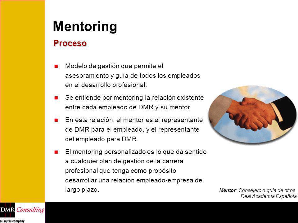 Mentoring Proceso Modelo de gestión que permite el asesoramiento y guía de todos los empleados en el desarrollo profesional. Se entiende por mentoring