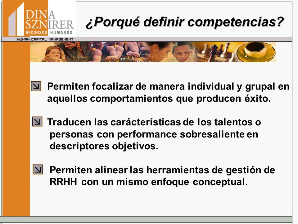 ¿Porqué definir competencias? Permiten focalizar de manera individual y grupal en aquellos comportamientos que producen éxito. Traducen las carácterís