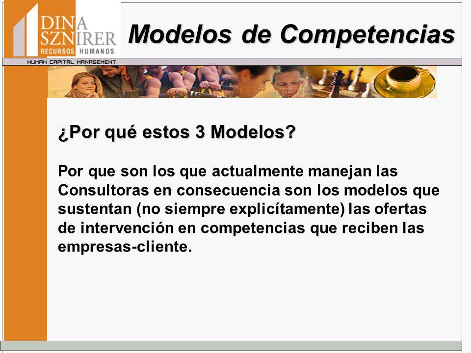 ¿Por qué estos 3 Modelos? Por que son los que actualmente manejan las Consultoras en consecuencia son los modelos que sustentan (no siempre explicítam