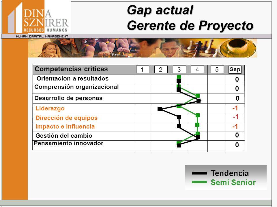 Gap actual Gerente de Proyecto Tendencia Semi Senior Competencias críticas 12345 Dirección de equipos Impacto e influencia Gestión del cambio Gap Lide