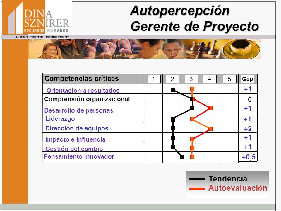 Autopercepción Gerente de Proyecto Tendencia Autoevaluación Competencias críticas 12345 Dirección de equipos Gap 0 +2 +1 +0,5 +1 Liderazgo +1 Orientac