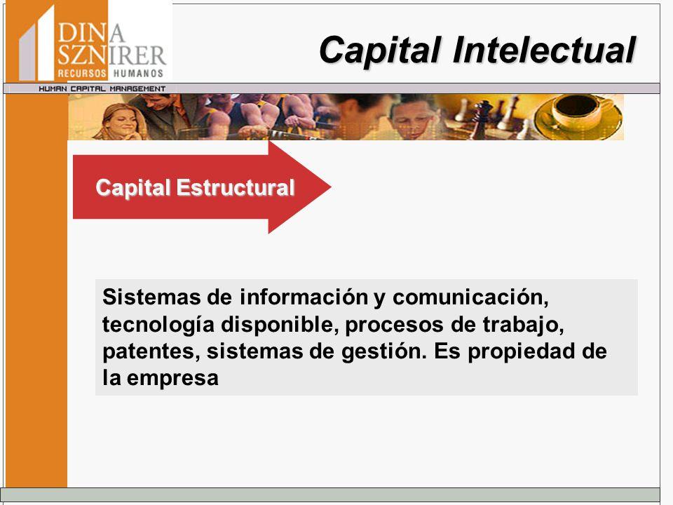 Capital Intelectual Sistemas de información y comunicación, tecnología disponible, procesos de trabajo, patentes, sistemas de gestión. Es propiedad de