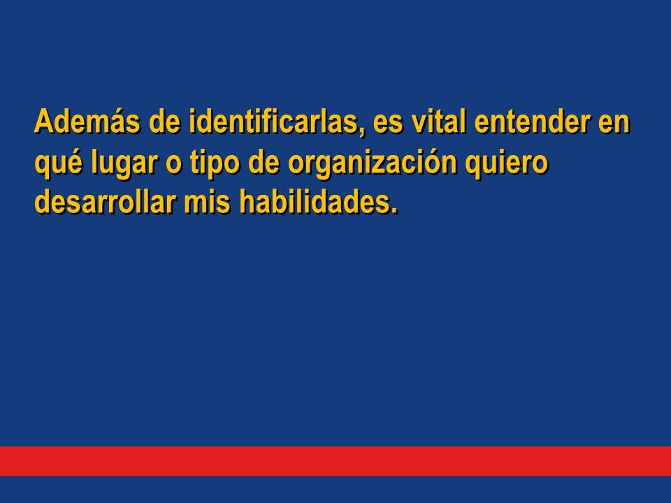 Además de identificarlas, es vital entender en qué lugar o tipo de organización quiero desarrollar mis habilidades.