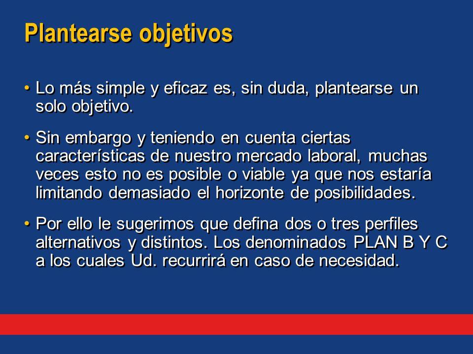 Plantearse objetivos Lo más simple y eficaz es, sin duda, plantearse un solo objetivo.