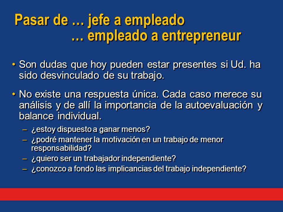Pasar de … jefe a empleado … empleado a entrepreneur Son dudas que hoy pueden estar presentes si Ud.