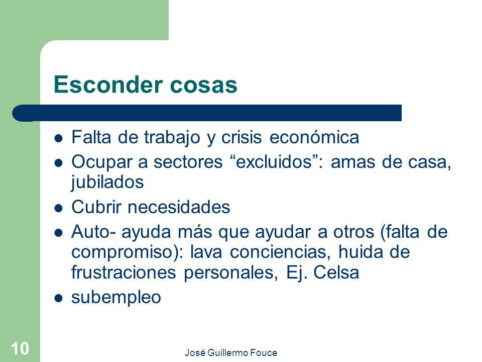 José Guillermo Fouce 10 Esconder cosas Falta de trabajo y crisis económica Ocupar a sectores excluidos: amas de casa, jubilados Cubrir necesidades Aut