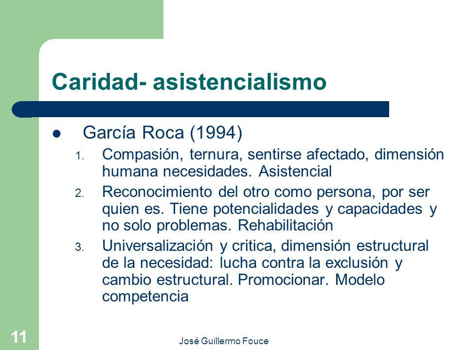 José Guillermo Fouce 11 Caridad- asistencialismo García Roca (1994) 1. Compasión, ternura, sentirse afectado, dimensión humana necesidades. Asistencia