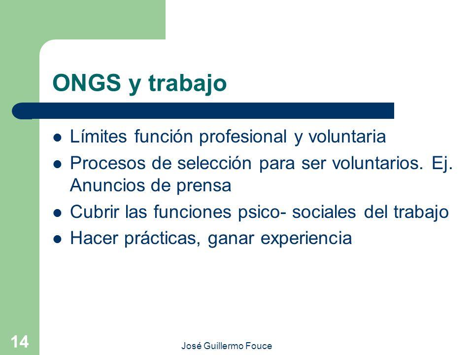 José Guillermo Fouce 14 ONGS y trabajo Límites función profesional y voluntaria Procesos de selección para ser voluntarios. Ej. Anuncios de prensa Cub