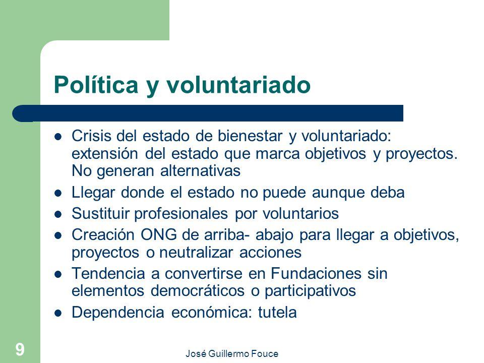 José Guillermo Fouce 9 Política y voluntariado Crisis del estado de bienestar y voluntariado: extensión del estado que marca objetivos y proyectos. No