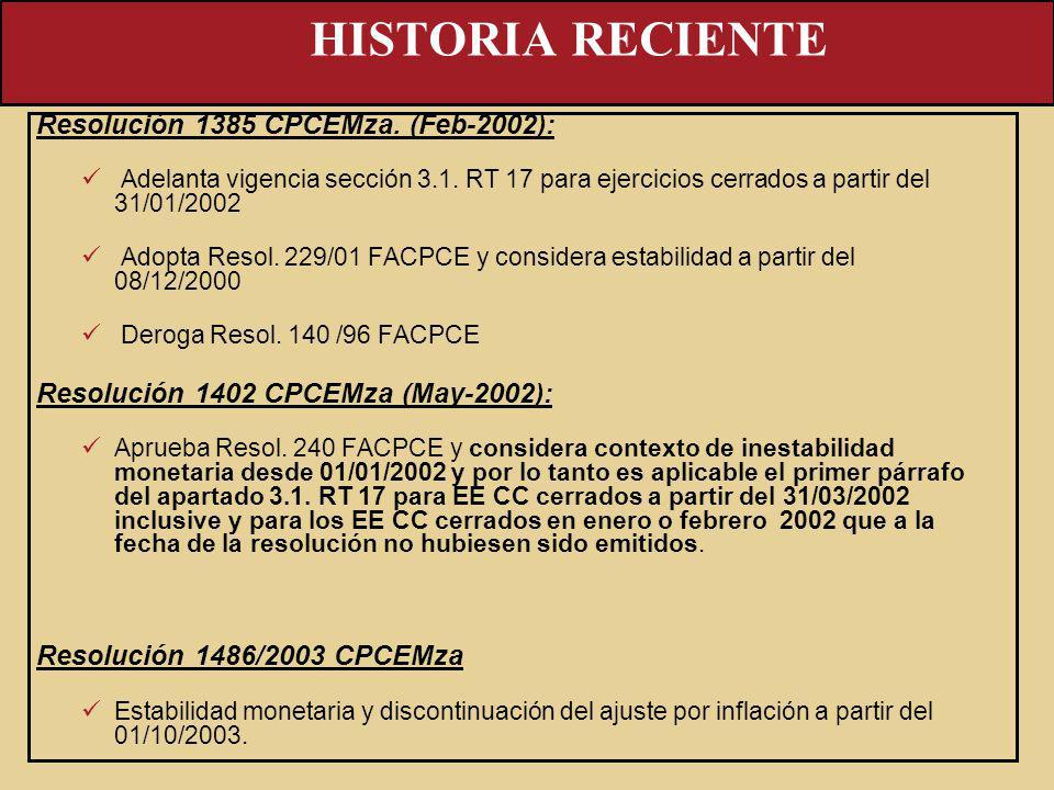 Resolución 1385 CPCEMza. (Feb-2002): Adelanta vigencia sección 3.1. RT 17 para ejercicios cerrados a partir del 31/01/2002 Adopta Resol. 229/01 FACPCE
