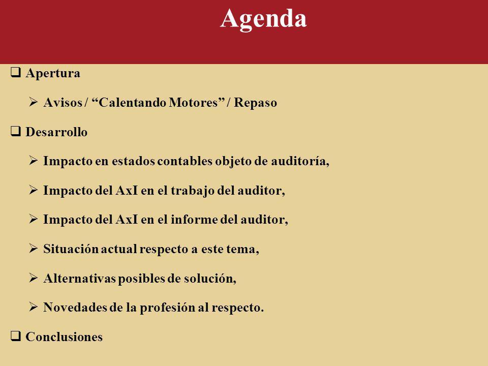 Agenda Apertura Avisos / Calentando Motores / Repaso Desarrollo Impacto en estados contables objeto de auditoría, Impacto del AxI en el trabajo del au