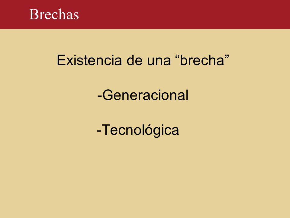 Brechas Existencia de una brecha -Generacional -Tecnológica