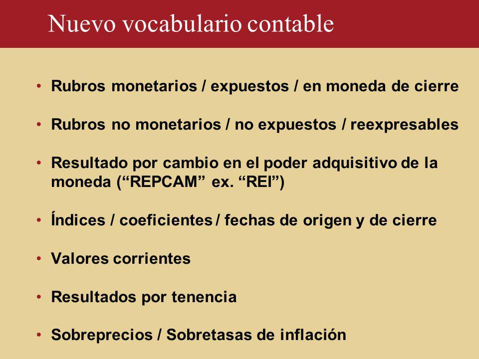 Nuevo vocabulario contable Rubros monetarios / expuestos / en moneda de cierre Rubros no monetarios / no expuestos / reexpresables Resultado por cambi