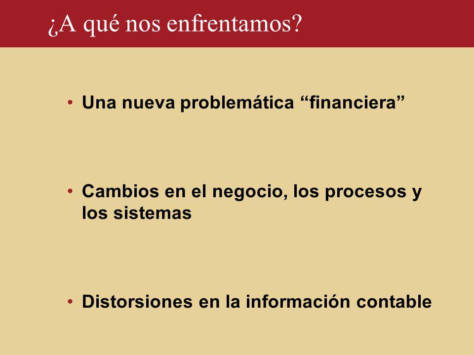 ¿A qué nos enfrentamos? Una nueva problemática financiera Cambios en el negocio, los procesos y los sistemas Distorsiones en la información contable