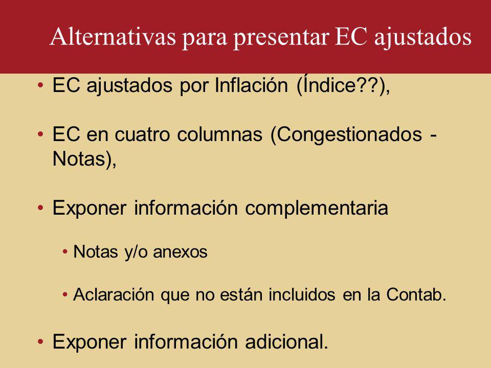 Alternativas para presentar EC ajustados EC ajustados por Inflación (Índice??), EC en cuatro columnas (Congestionados - Notas), Exponer información co
