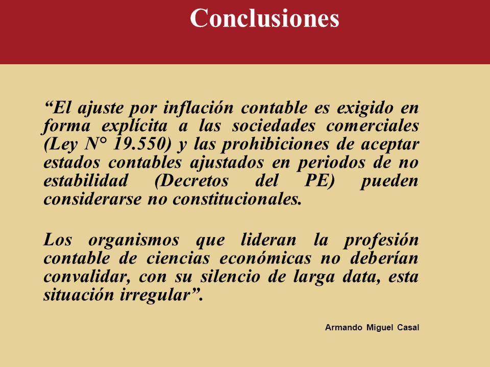 Conclusiones El ajuste por inflación contable es exigido en forma explícita a las sociedades comerciales (Ley N° 19.550) y las prohibiciones de acepta