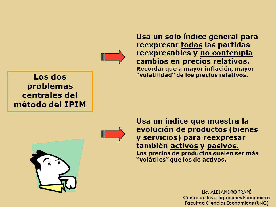 Lic. ALEJANDRO TRAPÉ Centro de Investigaciones Económicas Facultad Ciencias Económicas (UNC) Los dos problemas centrales del método del IPIM Usa un so