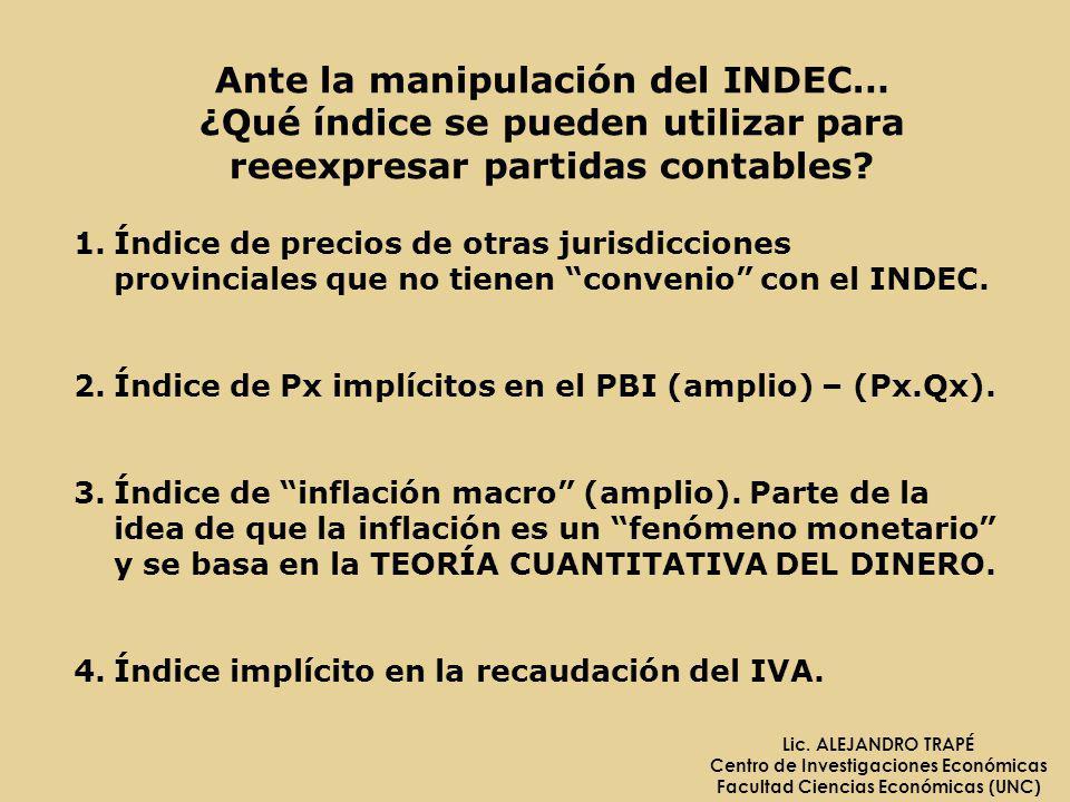 Ante la manipulación del INDEC… ¿Qué índice se pueden utilizar para reeexpresar partidas contables? 1.Índice de precios de otras jurisdicciones provin