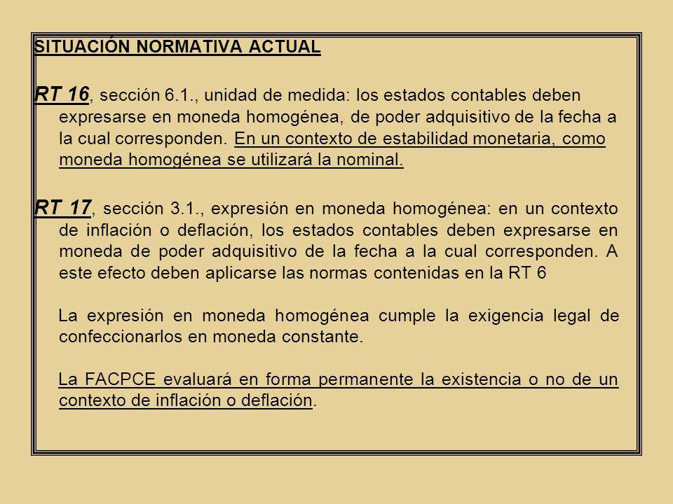 SITUACIÓN NORMATIVA ACTUAL RT 16, sección 6.1., unidad de medida: los estados contables deben expresarse en moneda homogénea, de poder adquisitivo de