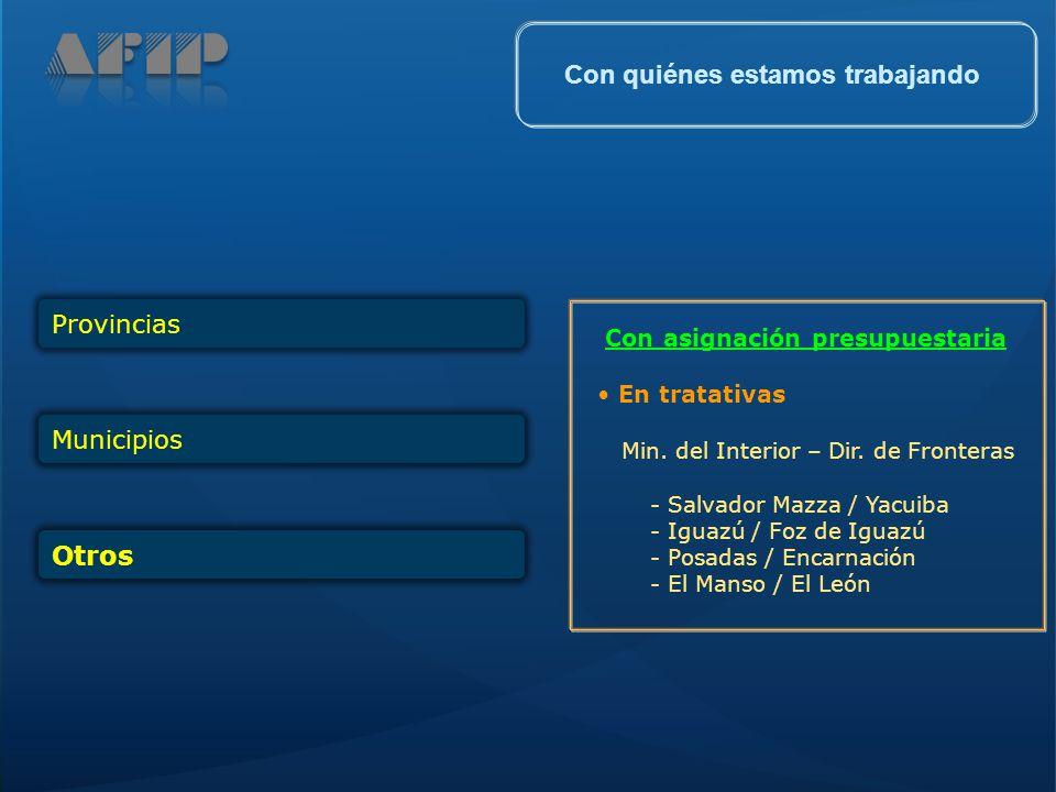 ProvinciasMunicipios Otros Con asignación presupuestaria En tratativas Min. del Interior – Dir. de Fronteras - Salvador Mazza / Yacuiba - Iguazú / Foz