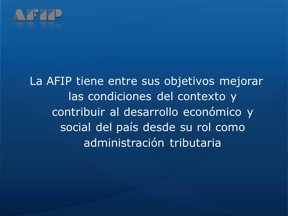 La AFIP tiene entre sus objetivos mejorar las condiciones del contexto y contribuir al desarrollo económico y social del país desde su rol como administración tributaria