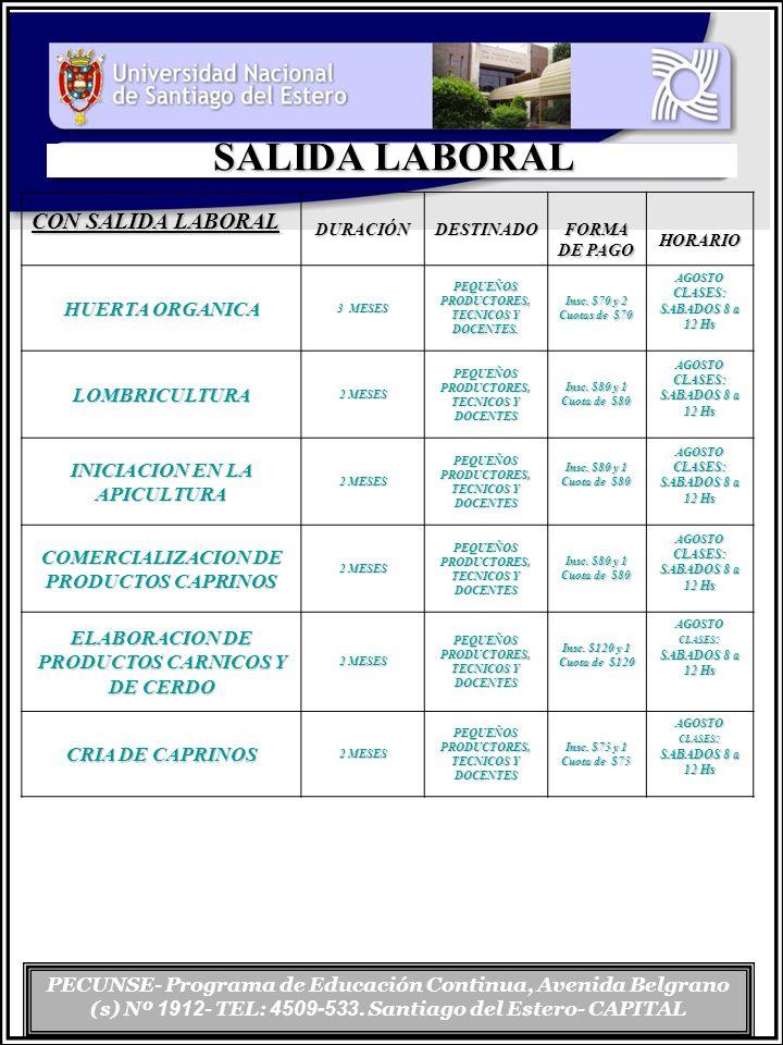 PECUNSE- Programa de Educación Continua, Avenida Belgrano (s) Nº 1912 - TEL: 4509-533. Santiago del Estero- CAPITAL SALIDA LABORAL CON SALIDA LABORAL