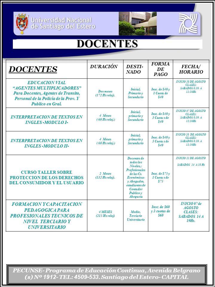 PECUNSE- Programa de Educación Continua, Avenida Belgrano (s) Nº 1912 - TEL: 4509-533. Santiago del Estero- CAPITAL DOCENTES DOCENTES DURACIÓN DESTI-