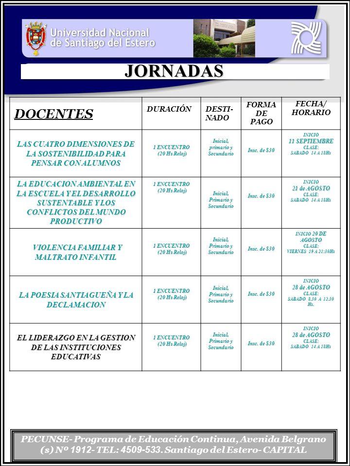 PECUNSE- Programa de Educación Continua, Avenida Belgrano (s) Nº 1912 - TEL: 4509-533. Santiago del Estero- CAPITAL JORNADAS DOCENTES DURACIÓN DESTI-