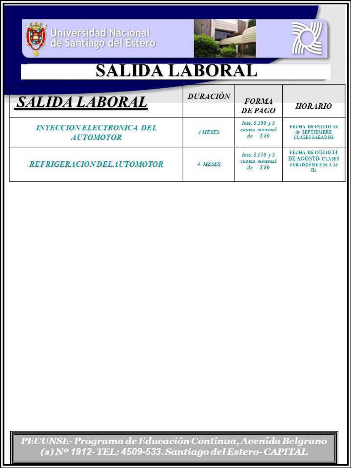 PECUNSE- Programa de Educación Continua, Avenida Belgrano (s) Nº 1912 - TEL: 4509-533. Santiago del Estero- CAPITAL SALIDA LABORAL SALIDA LABORAL SALI