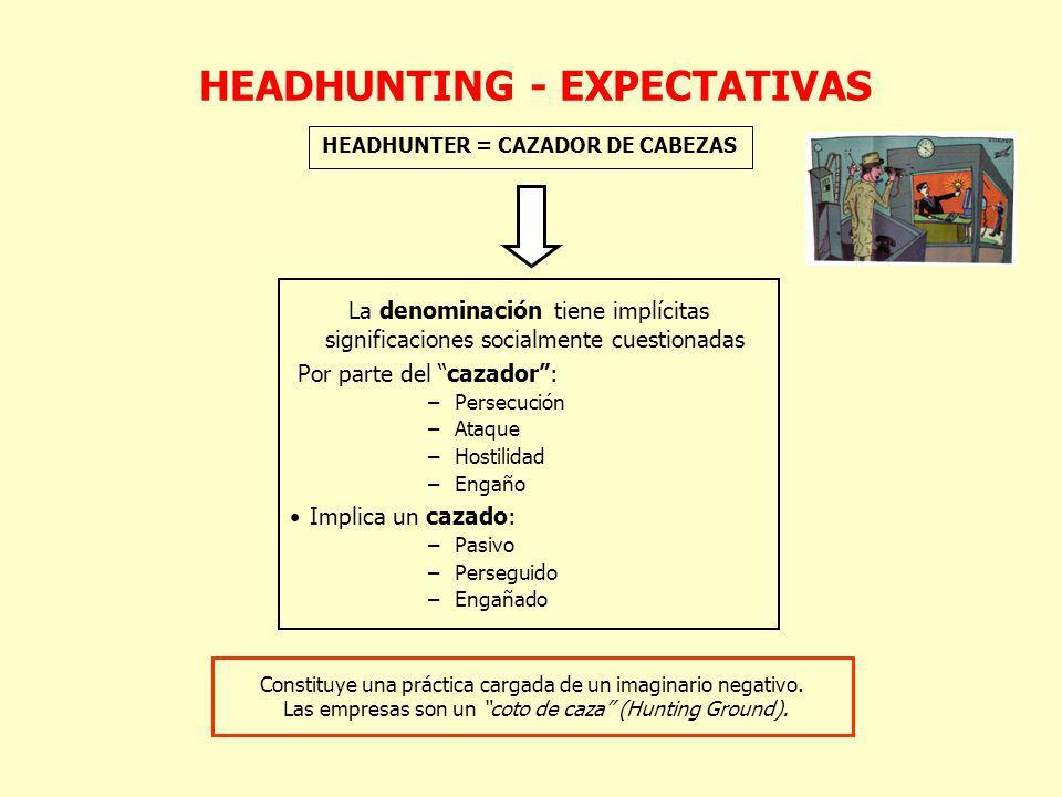 HEADHUNTER = CAZADOR DE CABEZAS La denominación tiene implícitas significaciones socialmente cuestionadas Por parte del cazador: –Persecución –Ataque