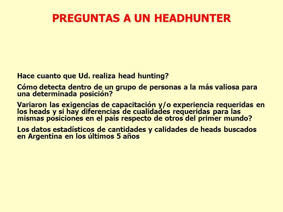 PREGUNTAS A UN HEADHUNTER Hace cuanto que Ud. realiza head hunting? Cómo detecta dentro de un grupo de personas a la más valiosa para una determinada