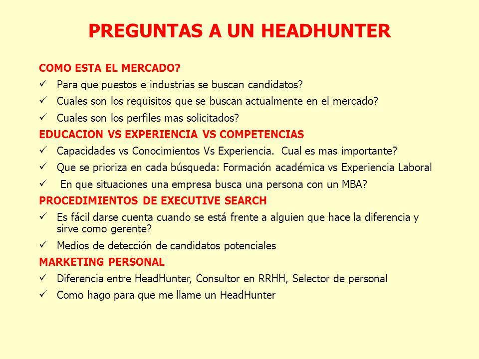 PREGUNTAS A UN HEADHUNTER COMO ESTA EL MERCADO? Para que puestos e industrias se buscan candidatos? Cuales son los requisitos que se buscan actualment