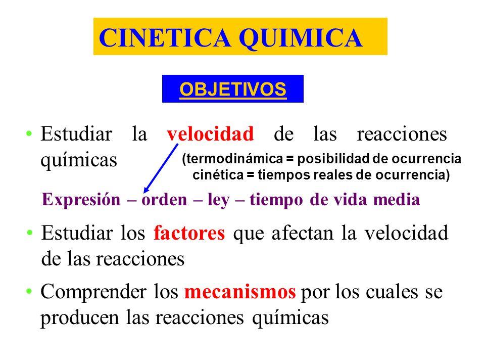 CINETICA QUIMICA OBJETIVOS Estudiar la velocidad de las reacciones químicas Expresión – orden – ley – tiempo de vida media Estudiar los factores que a