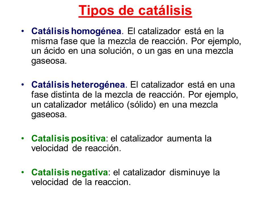 Tipos de catálisis Catálisis homogénea. El catalizador está en la misma fase que la mezcla de reacción. Por ejemplo, un ácido en una solución, o un ga