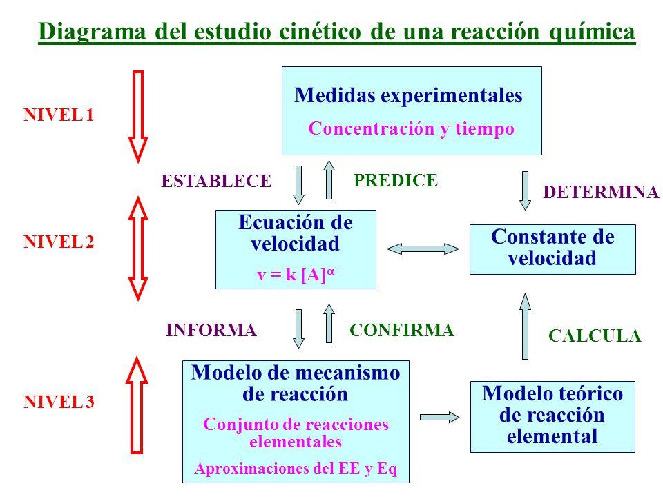 a) Reacciones opuestas o reversibles Reacciones que se producen en ambos sentidos y por lo general conducen a un estado de equilibrio V directa = V inversa A B Tiempo [ ] A B k1k1 k -1 Mecanismos de reacción : tipos de reacciones involucradas k 1 [A] = k -1 [B] constantes de velocidad directa e inversa constante de equilibrio d(A)/dt = - k 1 (A) + k -1 (B) = 0