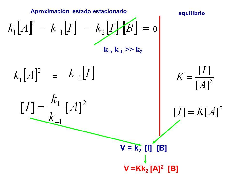 0 k 1, k -1 >> k 2 = V = k 2 [I] [B] Aproximación estado estacionario equilibrio V =Kk 2 [A] 2 [B]