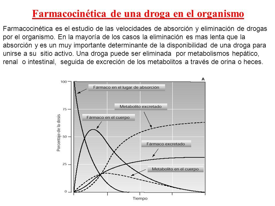 Farmacocinética de una droga en el organismo Farmacocinética es el estudio de las velocidades de absorción y eliminación de drogas por el organismo. E