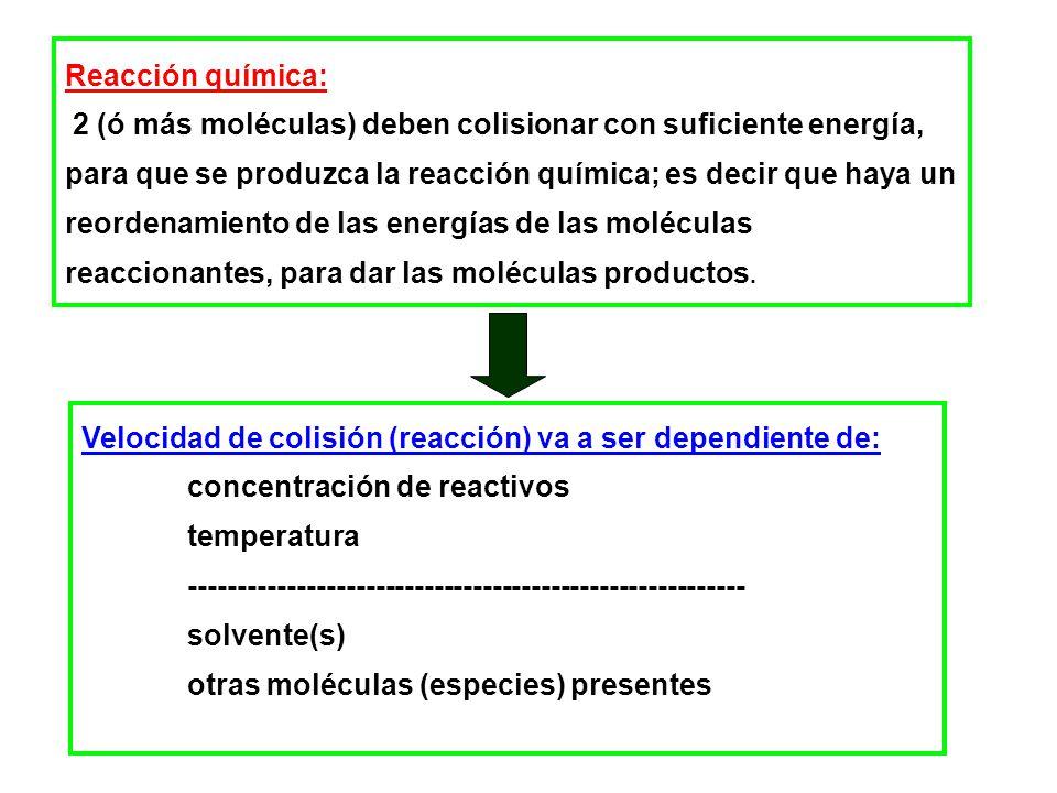 TIEMPO DE VIDA MEDIA TIEMPO EN QUE LA CONCENTRACIÓN DE REACTIVO DISMINUYE A LA MITAD DE SU VALOR INICIAL Reacciones de orden cero k [A] 0 t 2 2 1 Reacciones de primer orden t 1/2 independiente de [A] o Reacciones de segundo orden [A] 0 k t 1/2 1 Reacciones t 1/2 (s) Muy lentas >4 x 10 7 (1 año) Lentas 10 5 (1 día) Relativamente rápidas 4 x 10 3 (1 hora) Rápidas 10 2 -10 -1 Muy rápidas < 10 -4