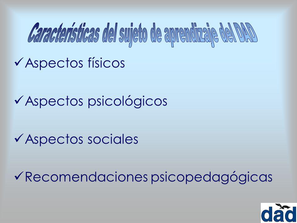 Aspectos físicos Aspectos psicológicos Aspectos sociales Recomendaciones psicopedagógicas