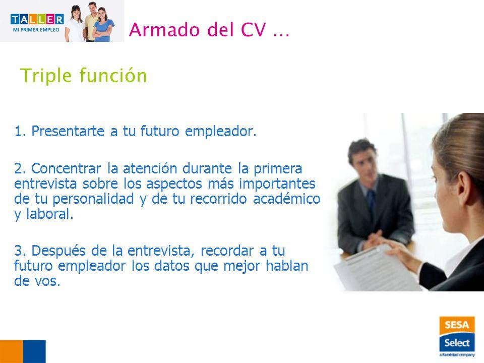 1.Presentarte a tu futuro empleador. 2.