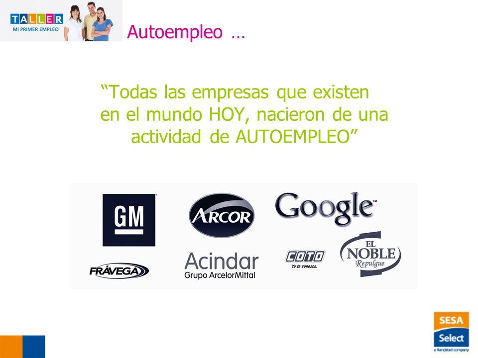 Todas las empresas que existen en el mundo HOY, nacieron de una actividad de AUTOEMPLEO Autoempleo …