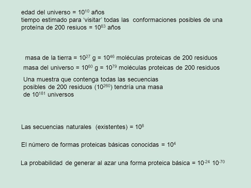 edad del universo = 10 10 años tiempo estimado para visitar todas las conformaciones posibles de una proteína de 200 resiuos = 10 83 años masa de la t
